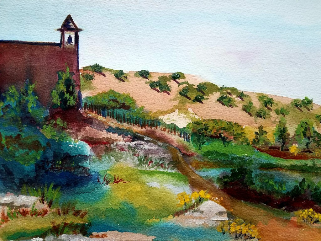 The Church at Las Golondrinas, watercolor- available